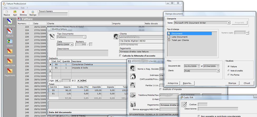 Software per fatturazione studi associati professionisti for Programma per disegnare le planimetrie gratuitamente